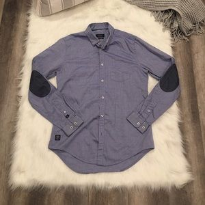 Zara Men Blue Chambray Button Down Tailored